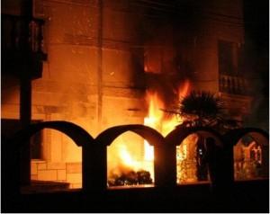Къщата на Кирил Рашков в пламъци