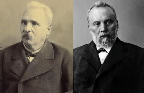 Либералите Петко Славейков (вляво) и Петко Каравелов
